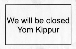 Closed for Yom Kippur